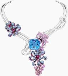 "Van Cleef & Arpels' one-of-a-kind ""Thenaria"" necklace from the ""Voyages Extraordinaires"" collection features a 76-carat cushion-cut aquamarine, pink spinels, diamonds and aquamarines set in 18K white gold! More eye candy here: http://balharbourshops.com/fashion/limited-edition/"