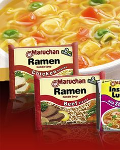 137 amazing ramen noodle recipes for those tight-budget weeknights. Maruchan Ramen Noodles, Raman Noodles, Garlic Noodles, Dirt Cheap Meals, Ramen Noodle Recipes, Noodle Soups, Good Food, Yummy Food, Asian Recipes