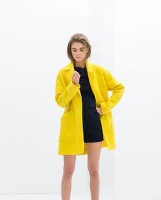 mustard yellow coat - zara