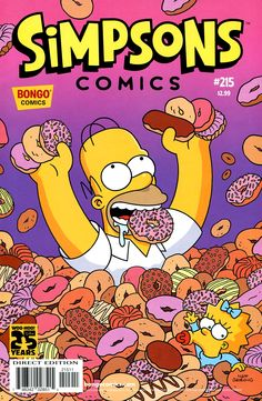 Homer Simpson sees a rain full of donuts, much in happiness, in a pink and purple blurred background. #spectacular #charming #touching
