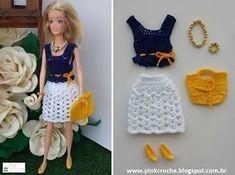 Barbie E Ken, Barbie Dress, Barbie Doll, Knitting Dolls Clothes, Crochet Barbie Clothes, Crochet Skirt Pattern, Barbie Clothes Patterns, Fashion Dolls, Crochet Baby