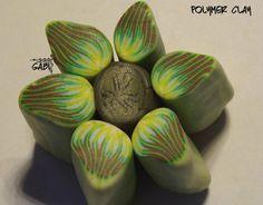 jungle flower polymer clay cane