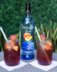 Pinnacle vodka recipes  2 oz peach vodka 8 oz cran apple juice 6 oz ginger ale  Garnish with peach slice