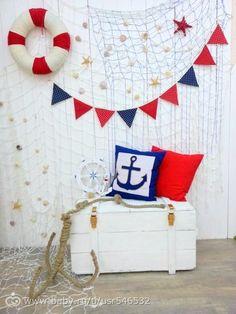 Children& birthday in nautical style (shipbuilding) - - My MartoKizza Sailor Theme, Sailor Baby, Nautical Party, Nautical Backdrop, Nautical Style, Sailor Birthday, Baby Birthday, Baby Shower Themes, Baby Boy Shower
