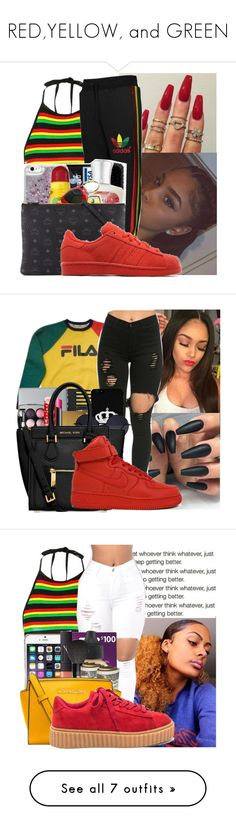 """""""RED,YELLOW, and GREEN"""" by badleaa ❤ liked on Polyvore featuring Topshop, adidas Originals, Fila, NIKE, adidas, Boohoo, Gianvito Rossi and Vans"""