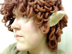 Knitted hobbit hat/wig.