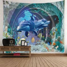 Dolphin Fish Ocean Print Wall Tapestry