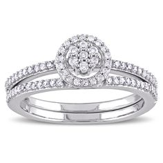 Miadora 10k Gold 1/3ct TDW Diamond Cluster Halo Bridal Ring Set