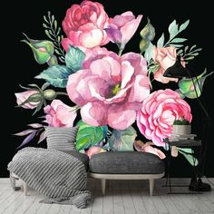 Bungalow Rose Maurer Removable Watercolor Vintage L x W Wall Mural Colorful Wallpaper, Wallpaper Roll, Peel And Stick Wallpaper, Wallpaper Murals, Adhesive Wallpaper, Flower Mural, Flower Wall Decals, Rose Wall, Floral Wall