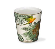 """Equateur Hermes candle, unscented Printed porcelain cup with """"Equateur"""" pattern, velvet goatskin base. #Hermes #PowderRoom #Inspiration"""