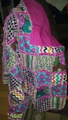 Colorful Modern Medallion/Chevron Rag Quilt by SewBrandeeDanielle, $195.00