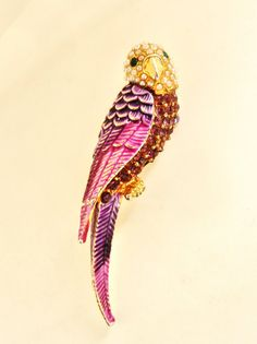 Collectible Vintage Parrot Brooch Faux Seed Pearl by RAKcreations