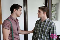 "The Carrie Diaries -- ""Strings Attached"" -- Image Number: -- Pictured (L-R): Jake Robinson as Bennet and Brendan Dooling as Walt -- Photo: Patrick Harbron/The CW -- © 2013 The CW Network, LLC. All rights reserved. Cw Tv Series, The Carrie Diaries, Tv Show Quotes, The Cw, Movies Showing, Favorite Tv Shows, Style Icons, Lgbt, Carry On"