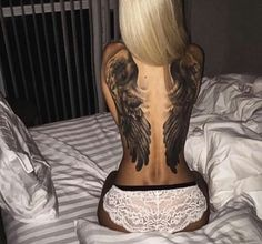 Photo - Black and grey Wings tattoo by Denis Sivak Angel Wings Tattoo On Back, Wing Tattoos On Back, Back Tattoo Women, Tattoos For Women, Tattooed Women, Large Tattoos, Hot Tattoos, Body Art Tattoos, Girl Tattoos