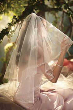 SLEEPING BEAUTY  Two Tier Fingertip Length Veil  Organza Flowers & Beaded Metallic Embroidered Edge