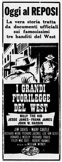 I grandi fuorilegge del west (1962) di William Witney, con Jim Davis ed Mary Castle. Italian release: July 30, 1962 #MoviePosters #West #BillyTheKid #JesseJames
