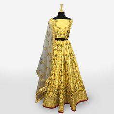 Buy Adorning Yellow Colored Partywear Embroidered Banarasi Silk Lehenga Choli at Rs. Get latest Lehengas for womens at Peachmode. Lehenga Collection, Silk Lehenga, India, Summer Dresses, Yellow, Blouse, Stuff To Buy, Color, Women