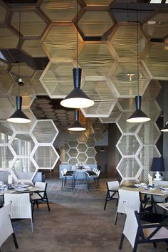 Patricia Urquola + W Vieques hotel. Loving the use of hexagons suspended from the ceiling to divide the space into zones. Would make me feel like I was sitting inside a beehive! W Hotels' first property in the Caribbean. Designed to be airy and whimsical, there is an evident seduction in the combination of pure and recycled …