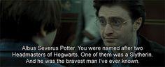 Albus Severus Potter. You were named after two Headmasters of Hogwarts. One of them was a Slytherin. And he was the bravest man I've ever known.