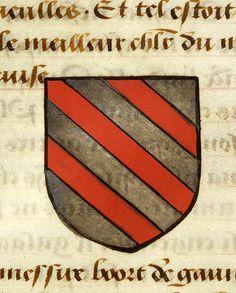 Escutcheon decorated with heraldry of Lancelot (argent, three bends gules) | Noms, armes et blasons des chevaliers de la Table Ronde | France | ca. 1500 | The Morgan Library & Museum