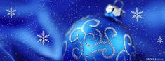 Blue Christmas Ornament with Snowflakes Facebook Cover