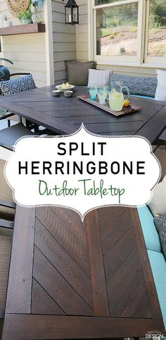 DIY split herringbone tabletop for outdoor table. Includes plans and how-to.