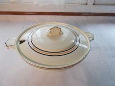 Vintage Imperial Royale Belgium Soup Tureen Serving Bowl Beige Black Orange #ImperialRoyale