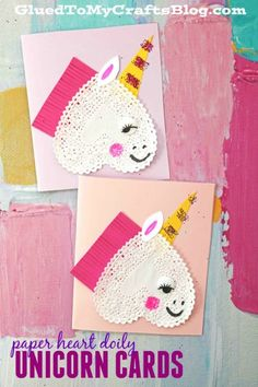 Paper Heart Doily Unicorn Cards