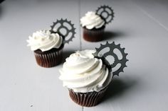 Great for bicycle enthusiasts! 12 Bicycle Gear Cupcake Toppers (Acrylic) on Etsy.