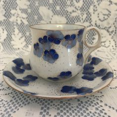 Porcelain Demitasse Cup & Saucer Set, White with Blue Flowers and Gold