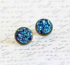 Blue cabochon post earrings by Jacaranda Designs | via Etsy