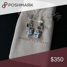 David Yurman Blue Topaz Earrings Genuine Yurman blue topaz earrings in silver. Barely ever worn, like new. Original Yurman jewelry bag included. David Yurman Jewelry Earrings