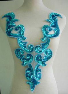 BD03 2 Huge Aqua Bodice Sequined Beaded Applique Tutu Belly Dance Dancewear | eBay
