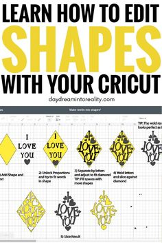 Learn how to edit shapes and make words into shapes in Cricut Design Space. This technique will help you make unique and beautiful projects. Shapes are one of the most significant features in Cricut Design Space, and Cricut Air 2, Cricut Vinyl, Cricut Help, Proyectos Cricut Explore, Cricut Explore Projects, Cricut Cuttlebug, Scrapbooking, Circuit Projects, Vinyl Projects