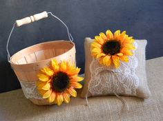 Sunflower Flower Girl Basket & Sunflower Ring by justforkeeps, $50.00