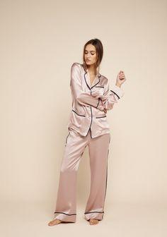 Coco Oyster Silk Pyjamas - Silk Pyjamas - Shop Olivia von Halle