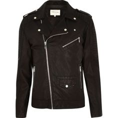 I'm shopping Black leather-look biker jacket in the River Island iPhone app.