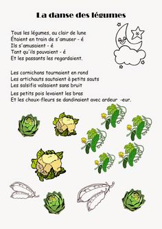 Ma petite maternelle: Comptine #30 La danse des légumes Kindergarten Literacy, Preschool Classroom, French Poems, Fun Projects For Kids, Core French, French Education, French Classroom, Classroom Posters, French Lessons