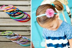Satin covered headbands for girls! Under $2 for a set.
