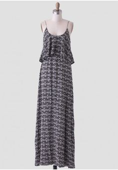Off To The Races Printed Maxi Dress