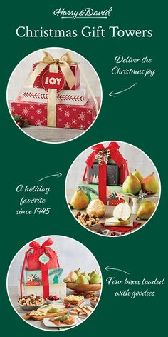 Give a gift that wows with one of our signature holiday gift towers! Filled to the brim with sweet treats, savory snacks, and our famous Royal Riviera Pears, anyone would be thrilled to receive one of these as a Christmas gift.