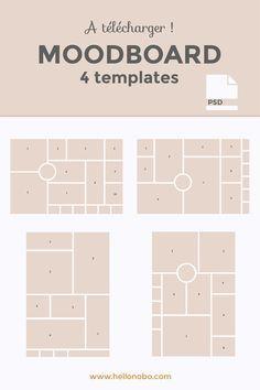 4 free moodboard templates in .psd. 4 modèles de moodboard à télécharger gratuitement pour vous aider à créer votre planche d'inspiration.