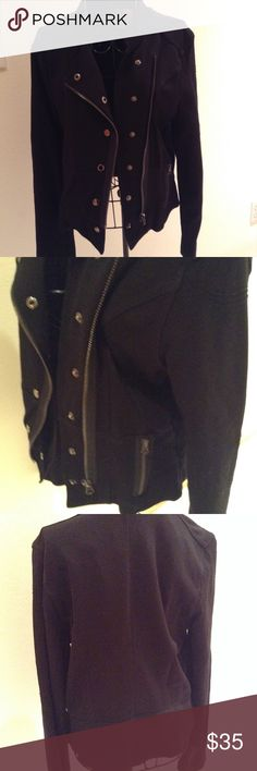 Romeo and Juliet Couture jacket Black Scuba knit material, has a biker jacket look with a feminine flair. Size medium. Romeo & Juliet Couture Jackets & Coats