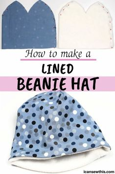 Beanie hat DIY tutorial and free PDF sewing pattern. I made this cute beanie hat with jersey fabric and fleece, and it's perfect for the cold winter days. Learn how to make your own jersey beanie hat lined with fleece with this easy step-by-step tutorial. Fleece Hat Pattern, Beanie Pattern Free, Hat Patterns To Sew, Sewing Patterns For Kids, Hat Pattern Sewing, Clothing Patterns, Kids Winter Hats, Kids Hats, Kids Beanies