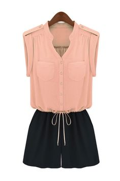 Chic Flat Collar And Patched Pockets Rompers! Maybe nude heels!