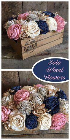 Sola wood flower craft, diy floral arrangement, farmers market crate. #foreverflowers