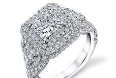 Princess Cut Double Halo Three Stone Diamond Ring - Shapiro Diamonds http://www.shapirodiamonds.com/product/princess-cut-double-halo-three-stone-diamond-ring Past, Present and Future - Diamond Ring - Diamonds - Anniversary - Engagement Ring - Wedding