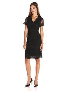 Calvin Klein Women's Short Sleeve Lace Sleeve Dress - http://www.darrenblogs.com/2016/08/calvin-klein-womens-short-sleeve-lace-sleeve-dress/