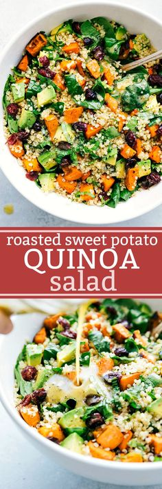 25 Healthy One Pot Vegetarian Meals Roasted sweet potato and quinoa salad! Fresh and healthy roasted sweet potato and quinoa salad made with spinach and avocados. A healthy and delicious lemon vinaigrette dressing coats this salad. Healthy Salad Recipes, Vegetarian Recipes, Cooking Recipes, Vegan Meals, Quinoa Meals, Avocado Recipes, Vegetarian Salad, Easy Cooking, Cooking Tips