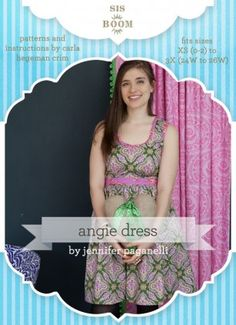 Sis Boom PDF Sewing Pattern - Angie is an easy-breezy modern day dress with classic appeal. Sizes XS through 3X included in the pattern download.